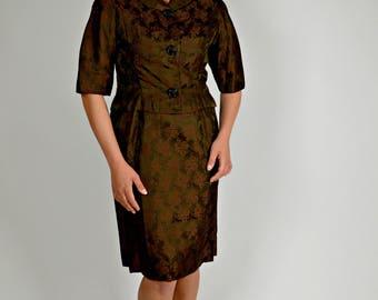 1950s Suit Women, Plus Size Suit, Brown Suit, Mother of the Bride Suit, Brocade Fabric, Wiggle Dress, Cropped Jacket, Size XL, 1950's Suit