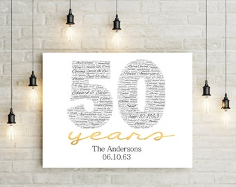 50th Anniversary Gift CANVAS- Golden Wedding Anniversary Gift - 50th Party Decor - 50th Anniversary - 50th Wedding Gift - Gift For Parents -