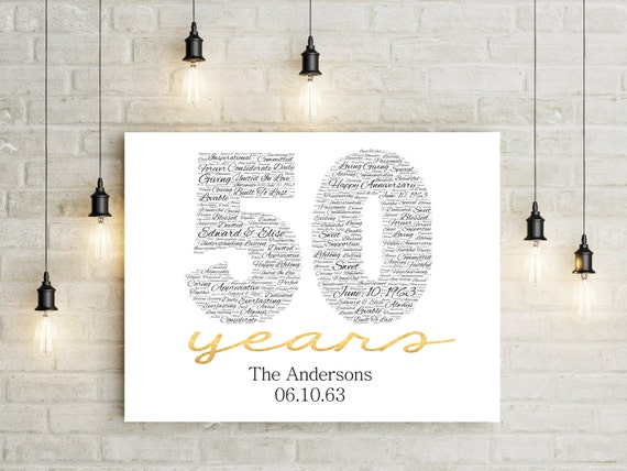Gift Ideas For 50th Wedding Anniversary Party: 50th Anniversary Gift CANVAS Golden Wedding Anniversary Gift