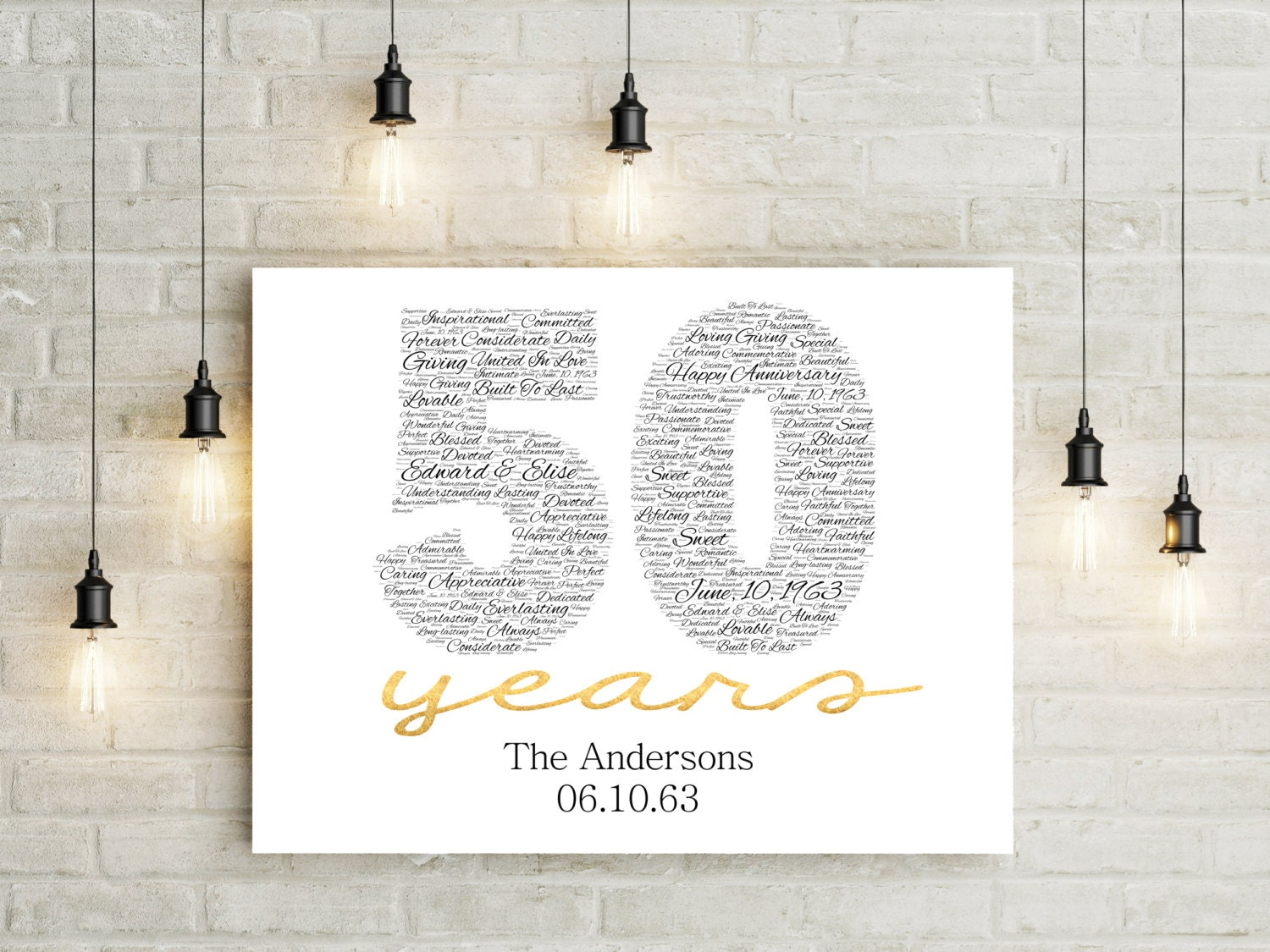 Golden Wedding Gift Ideas For Parents: 50th Anniversary Gift CANVAS Golden Wedding Anniversary Gift