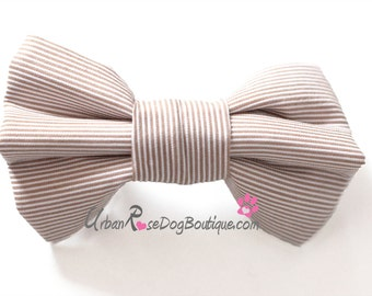 HONEY: Beige and White Dog Bow Tie for Wedding Urban Rose Dog Boutique #Wedding #Pets #Dog #Beige #Tan