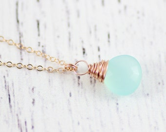 Rose Gold Necklace, Bridesmaid Jewelry Gift, Light Aqua Necklace, Blue Chalcedony Necklace, Gemstone Pendant Necklace, Wire Wrap Necklace