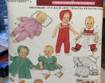 Simplicity doll clothes pattern