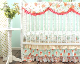 Mint and Coral Rustic Deer Cribset with Shabby Chic Floral Theme, Baby Girl Deer Bedding, Coral Mint Crib Bedding
