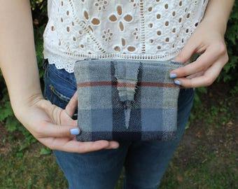 Blue Plaid Upcycled Felted Wool Zippered Bag