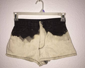Custom Bleached Two Tone Ombre Shorts