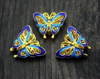 Sterling silver butterfly bead,Sterling silver spacer bead,Sterling silver Butterfly,Colorful, Cloisonne,Blue enamel butterfly Beads