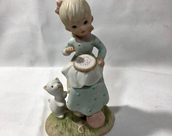 Lefton The Christopher Collection Lord Bless Our Work Miniature Figure Girl Sitting with Cat and Ball of Yarn 1982