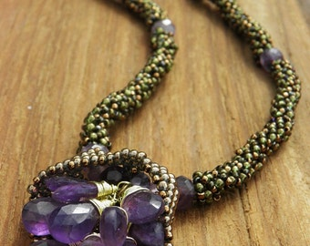 Lavender Harvest - Amethyst and Seed Bead Hand-Made Necklace with Swarovski Crystals