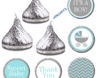 Hershey Kiss Labels - Printable Baby Shower Candy Labels, It's A Boy Candy DIY Label, Sweet Baby Blue and Gray Chevron Carriage Favors, 0106