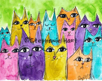 Bright Cats by Stephanie Hart, Archival print Watercolor Illustration 8x10, Cat Art