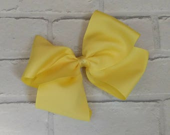"""Girls large 8"""" inch Pretty Yellow Boutique Hair Bow like JoJo Siwa Bows Signature Keeper Dance Moms"""