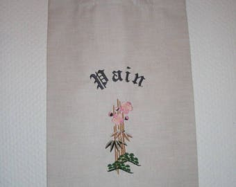 Linen bread bag / / food storage / / bag hanging / / put bread / / pattern personalized //Composition floral Japanese //Pain
