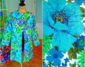 Gorgeous Trench Coat / 50s, 60s / Walking Coat / Floral / Mod /Trench / Swing Coat / Women's Coat / Jacket/Dress Coat/Md