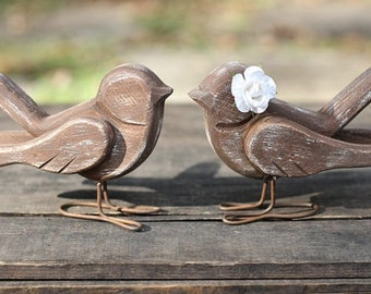 Rustic Love Bird Cake Toppers Handmade Shabby Chic Weddings Custom Color Rose