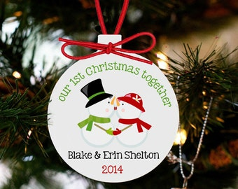 Personalized our first Christmas together snowman couples first christmas ornament PCFCSO