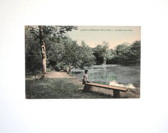 Woman at the water-landscape card-french postcard old french antique no written Saint germain Lee the pond with ducks