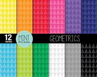 Geometric Triangles Digital Paper, Bright Rainbow Colored Scrapbooking Paper, Printable Sheets, Digital Backgrounds - BUY 2 GET 1 FREE!