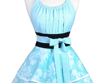 Flirty Chic Pinup Apron - Aqua Blue Floral and Gingham Wedding Apron - Womens Sexy Cute Retro Kitchen Apron with Pocket - Monogram Option