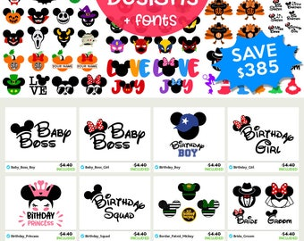 DISNEY Svg Disney Files Svg Disney Bundle Svg Mickey & Minnie Ears Disney font, Monograms, Cricut cut file, Silhouette Dxf Eps Png Clip art