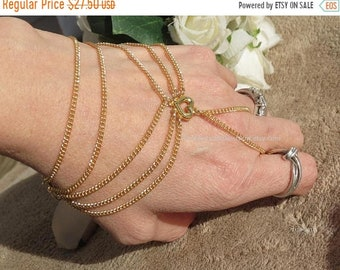 Sale 18kgp Gold hand chain, slave bracelet, bracelet ring, chain jewelry, fitted adjustable Victorian hand bracelet, finger bracelet, slave