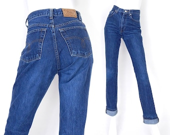 Sz 6 80s High Waisted Slim Fit Polo Jeans - Vintage Ralph Lauren Faded Indigo Womens Designer Mom Jeans - 27 Waist
