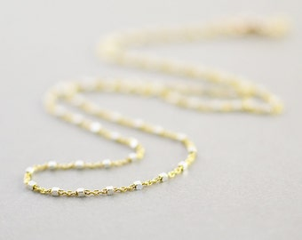 Gold Silver Chain Necklace, Two Tone Necklace, Minimal