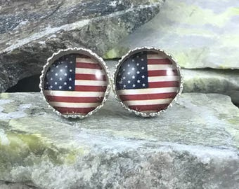 American Flag Earrings - Patriotic Earrings - 4th of July - July 4 - Independence Day - Jewelry - Stud Earrings - USA Earrings - USA Flag