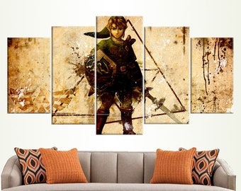 Legend Of Zelda Poster Video Game Art Gift For Boy Interior Decor Breath Of The Wild Framed Prints Nintendo Art Wall Hanging  Home Decor