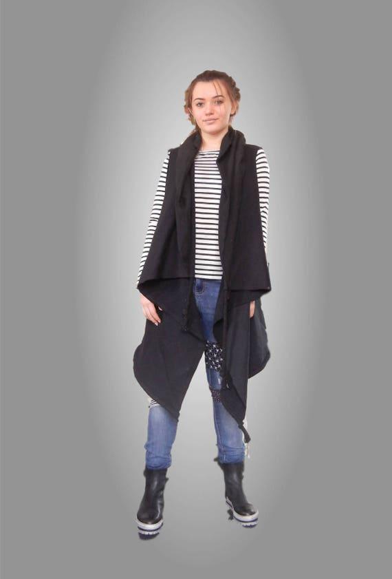 Cape Oversized Sleeveles Vest, Black Alternative Vest, Sleevless Jacket, Urban Cotton Sleeveless Coat, Edgy Chic Vest, Loose Casual Vest