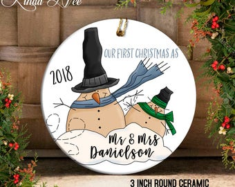 Our First Christmas as Mr and Mrs Ornament, Mr and Mrs Ornament, Mr Mrs Snowman, Custom Wedding Gift Personalized Wedding Gift Custom OCH138