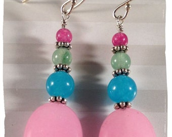 Spring Fling Earrings--Bubblegum Pink and Blue Jade, Green Aventurine and Purple Agate with Sterling Silver--Free US Shipping