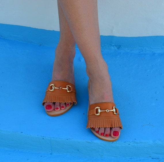 sandals sandals Slip sandals sandals Greek Greek slides Greek Fringed colors shoes on Many sandals Leather Summer White leather txXP0f