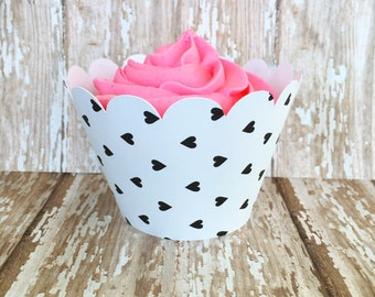 24 heart cupcake wrappers, black and white hearts cupcake wrappers, modern heart cupcake wrappers, custom color cupcake wrappers