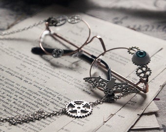 Punk Sunglasses Decor sunglasses eyes gear chains steampunk Lolita Gothic glasses