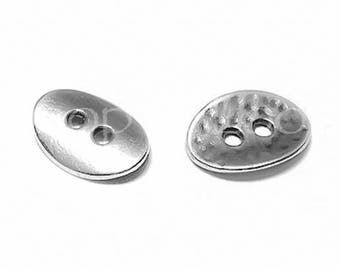 25%OFF Hammered Oval button, Two Hole Buttons European charm Antique Silver patina Quality hypoallergenic Greek Metal DIY TH169, 4pcs