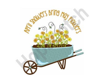 Flowers - Machine Embroidery Design, April Showers Bring May Flowers