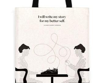"Literary Tote Bag, Elizabeth Barrett Browning ""Self"" Tote, Handmade tote bag with pocket, canvas bag, Bookish tote bag, Book Bag"