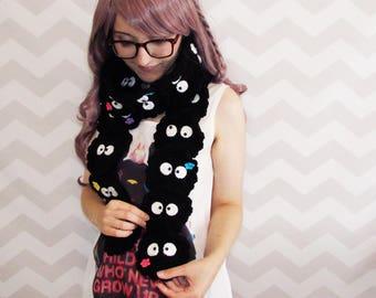 soot sprite scarf susuwatari totoro spirited away anime cosplay anime scarf studio ghibli crochet scarf winter scarf