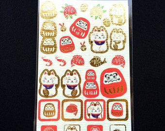Japanese Lucky Cat Stickers - Japanese Washi Paper Stickers - Chiyogami Stickers - Dharma Doll Stickers  (S221)