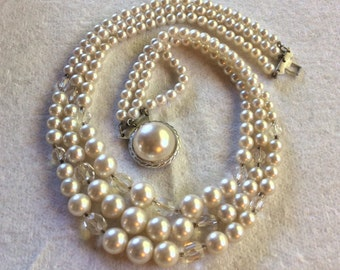 Vintage 1950's pearls glass triple strand wedding necklace .