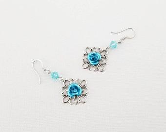 Blue Metal Flower Silver Filigree Earrings, Flower Dangle Earrings, Flower Earrings, Victorian Earrings, Flower Drop Earring, Spring Earring