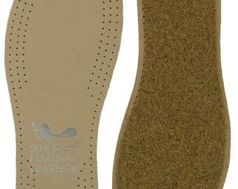 Natural leather cork insoles