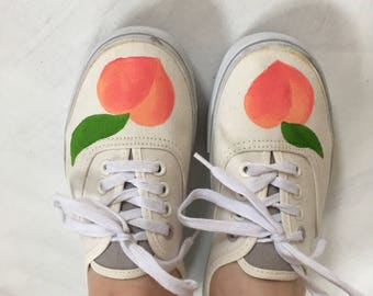 hand painted womens peach sneakers tennis shoes flats size 7