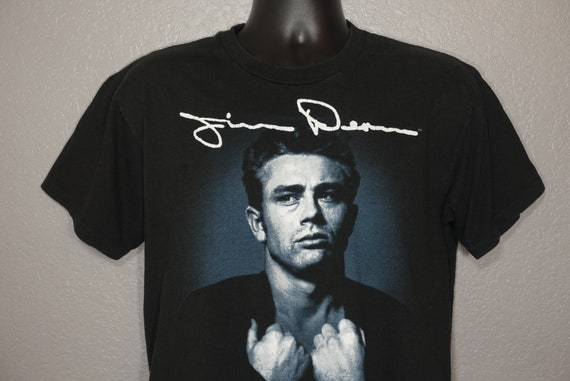 1982 James Dean Foundation - Roy Schatt Photo James Dean Signature (1931-1955) Double Sided Vintage T-Shirt