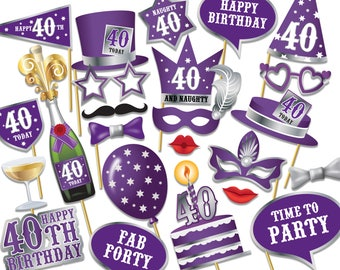 40th birthday Photo Booth props - Instant Download printable PDF. Fortieth birthday party Photo Booth supplies. Forty Today - 0222