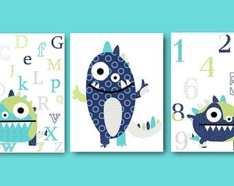 Monster Nursery Alphabet Nursery Numbers Wall Decor Baby Nursery Decor Baby Room Decor Baby Boy Nursery Kids Wall Art Kid Art set of 3