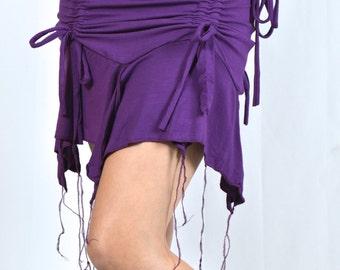 Jellyfish Fringe Cinch Mini Skirt / Layering Piece- Casual- Summer- Fun- Festival Skirt- Burning Man - Bonaroo Walkarusa Beach