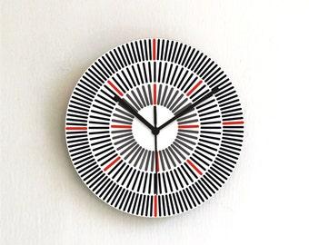 Black lines geometric modern minimalist wall clock