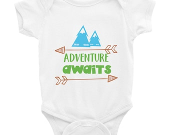 Adventure Awaits Namaste Mountains Camping Hiking Outdoors Infant Bodysuit